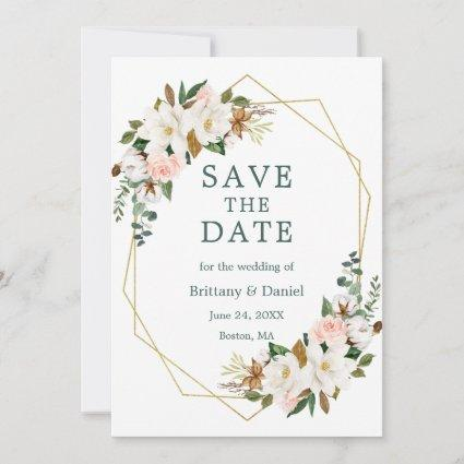 Watercolor Magnolias Pink Roses Gold Green Save The Date