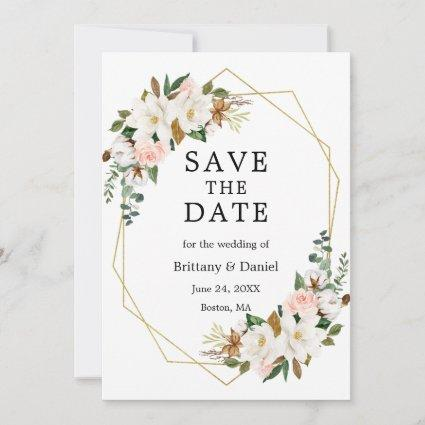 Watercolor Magnolias Pink Roses Gold Save The Date