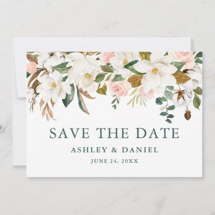 Watercolor Magnolias Pink Roses Green Save The Date