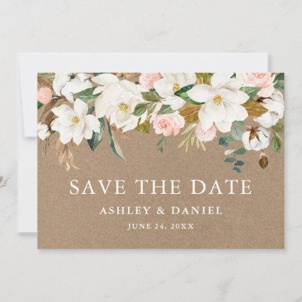 Watercolor Magnolias Pink Roses Kraft Save The Date