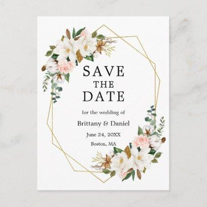 Watercolor Magnolias Roses Gold Save The Date Announcement
