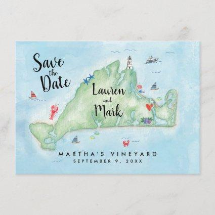 Watercolor Marthas Vineyard Map Save the Date