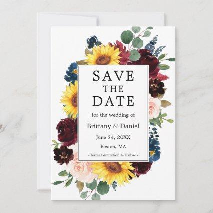 Watercolor Mixed Floral Frame Save The Date