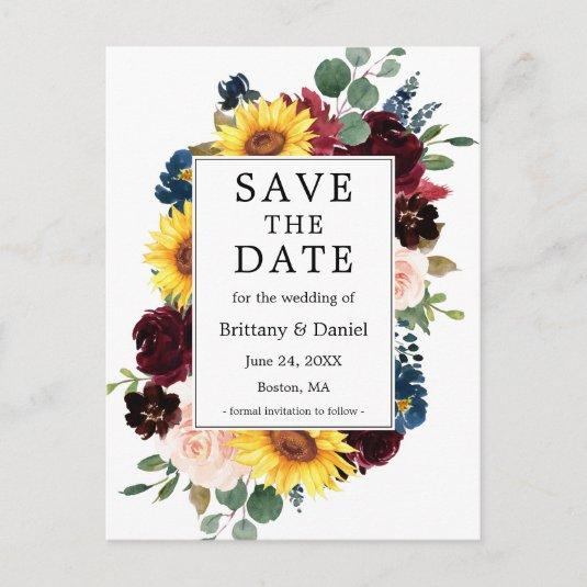 Watercolor Mixed Floral Frame Save The Date Announcement