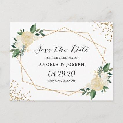 Watercolor Nature Green Gold Floral Save the Date Announcements Cards