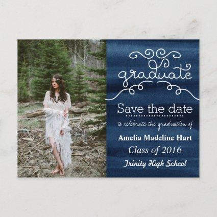 Watercolor Navy Blue Graduate Save The Date Photo Announcements Cards
