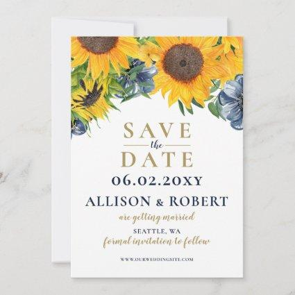 Watercolor Navy Blue Sunflower Rustic Wedding Save The Date