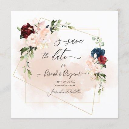 Watercolor Navy Blush Burgundy Roses Save the Date Invitation