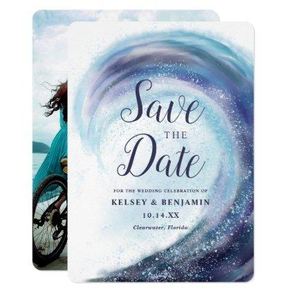 Watercolor Ocean Wave | Photo Save the Date Invitation