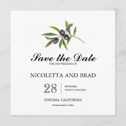 Watercolor Olive Tree Branch | Save the Date