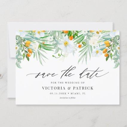 Watercolor Orchids and Kumquats Summer Wedding Save The Date