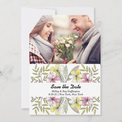 watercolor painting leaves photo save the date