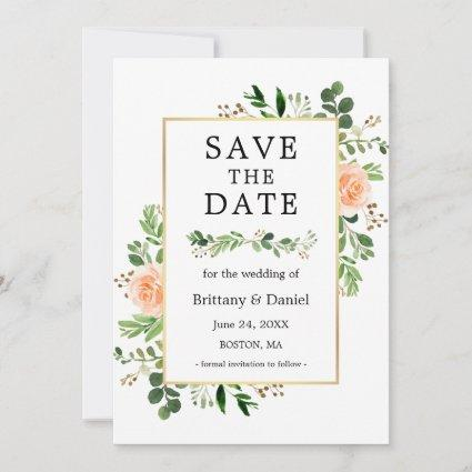 Watercolor Peach Floral Save The Date Card