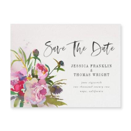 Watercolor Peony Floral Save The Date Magnet