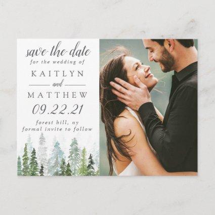 Watercolor Pine Tree Forest Wedding Save The Date Announcement