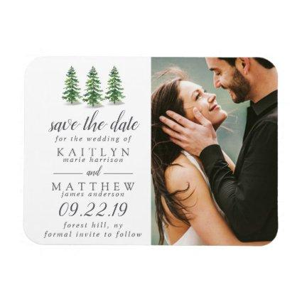 Watercolor Pine Tree Forest Wedding Save The Date Magnet