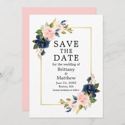 Watercolor Pink Blush Blue Roses Gold Frame Save The Date