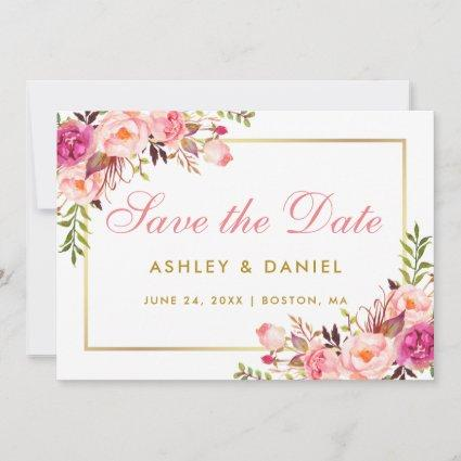 Watercolor Pink Blush Floral Gold Save The Date
