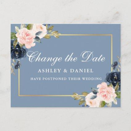 Watercolor Pink Floral Dusty Blue Change The Date