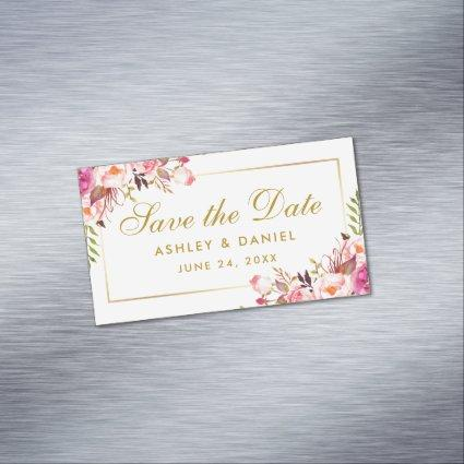 Watercolor Pink Floral Save The Date Mini Magnet