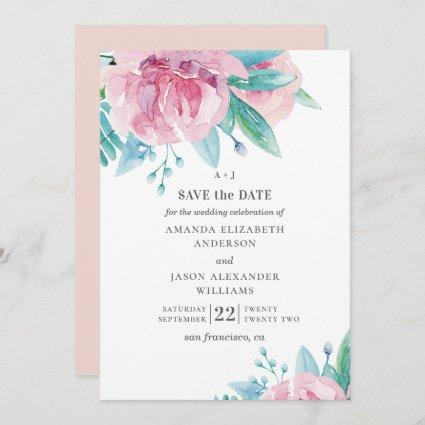 Watercolor pink flowers. Blush floral wedding Save The Date