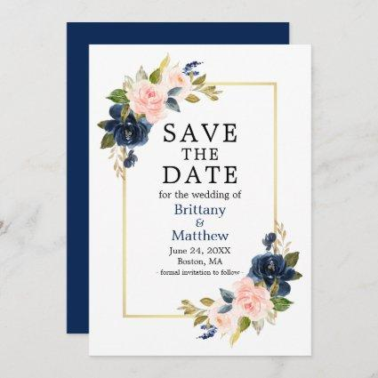 Watercolor Pink Roses Navy Blue Gold Frame Save The Date