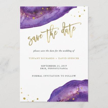 Watercolor Purple and Gold Geode Save the Date