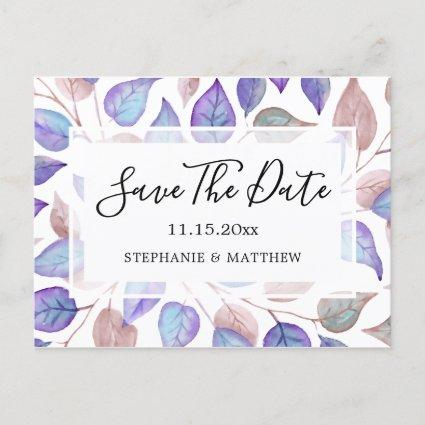 Watercolor Purple Leaves Wedding Save The Date Announcement