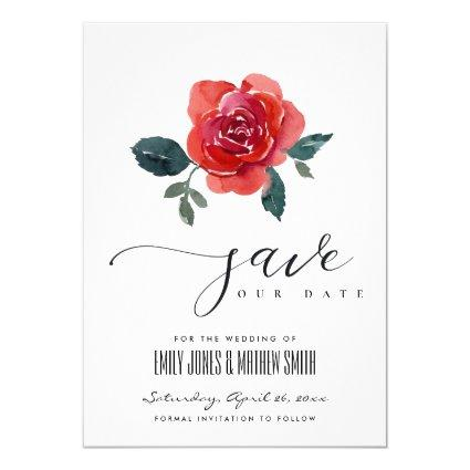 WATERCOLOR RED GREEN ROSE FLORAL SAVE THE DATE INVITATION