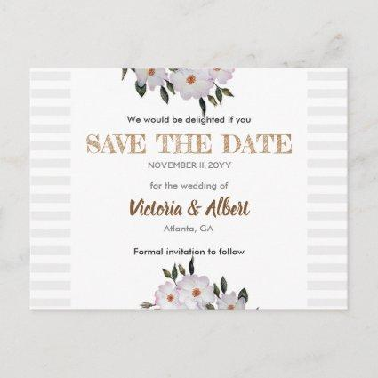 Watercolor Roses Ballerina Wedding Save The Date Announcement