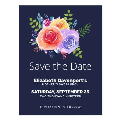 Watercolor Roses Floral Bouquet Save the Date Cards