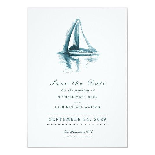 Watercolor Sailing Boat Save the Date Card