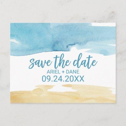 Watercolor Sand and Sea Save the Date Announcement