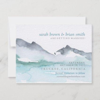 Watercolor Save the Date Mountainside Lake Wedding