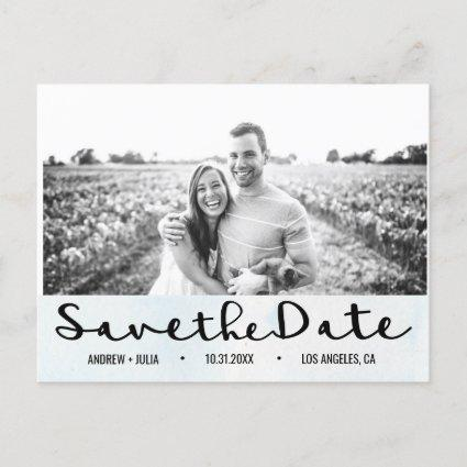 Watercolor Sky Blue Save the Date