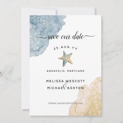 Watercolor Starfish Beach Dusty Blue Wedding Save The Date