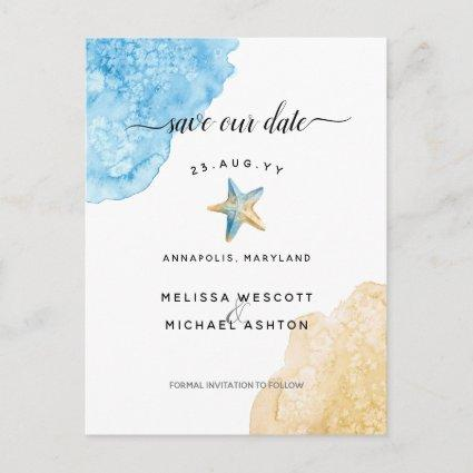 Watercolor Starfish Coastal Elegant Save Our Date Announcement