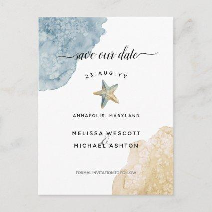 Watercolor Starfish Dusty Blue Save Our Date Announcement