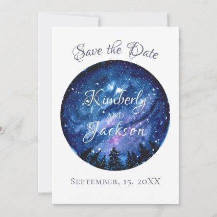 Watercolor Starry Night Sky Save The Date