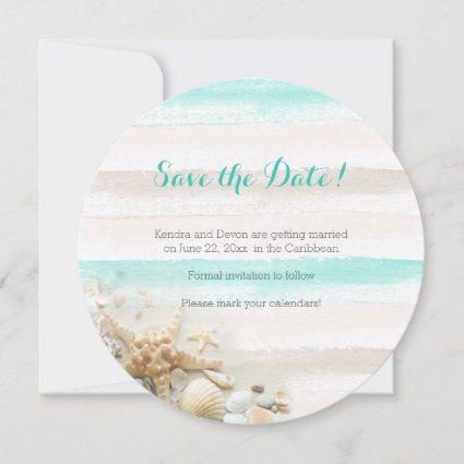 Watercolor Stripes Beach Theme Save the Date