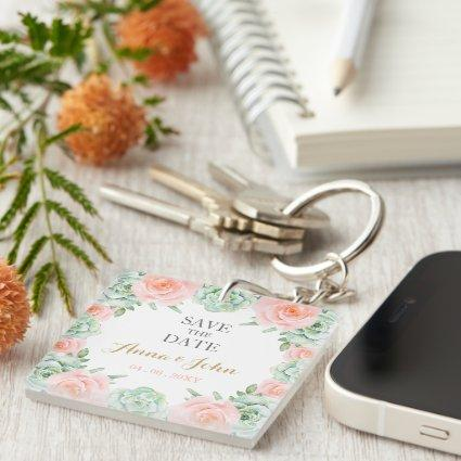 Watercolor Succulent Blush Floral Save The Date Keychain