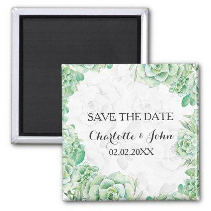 watercolor succulent wedding save the Date Magnets