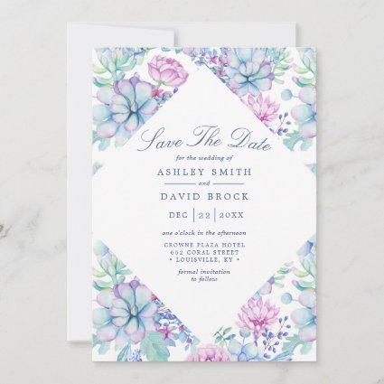 Watercolor Succulents Floral Boho Save The Date