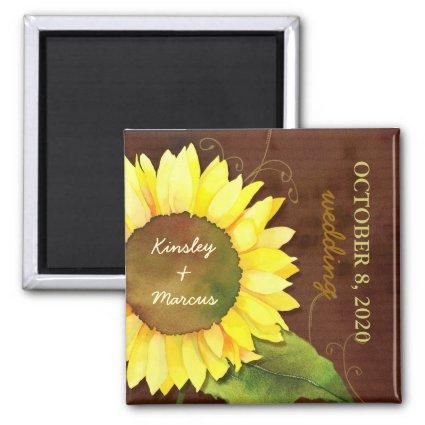 Watercolor Sunflower Autumn Wedding Save the Date Magnet