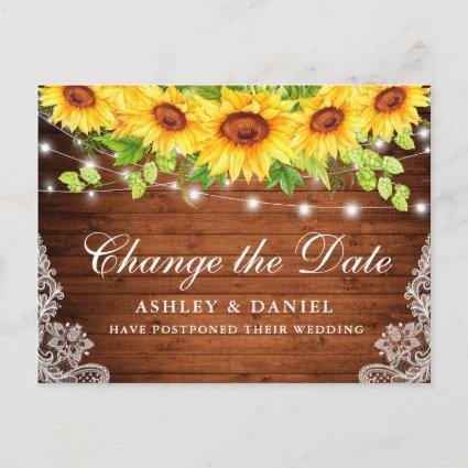 Watercolor Sunflower Floral Wood Change The Date