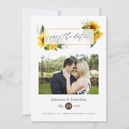 Watercolor Sunflower Rustic Geometric Wedding Save The Date