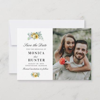 watercolor sunflower save the date photo card