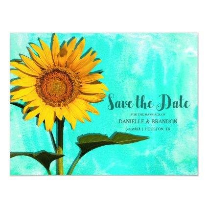 Watercolor Sunflower Wedding Save The Date Magnetic Invitation