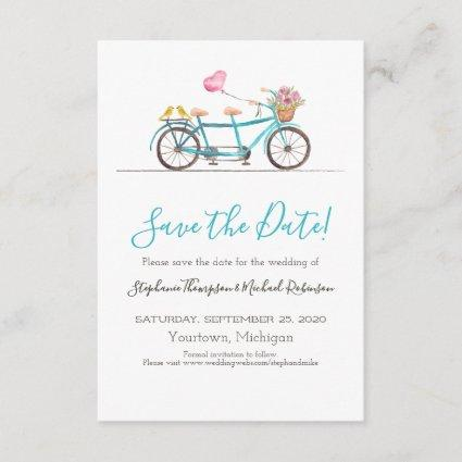 Watercolor Tandem Bicycle Save the Date