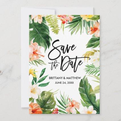 Watercolor Tropical Coral Floral Brush Script Save The Date